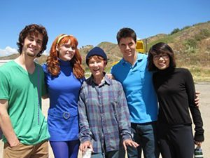 Nick Palatas, Kate Melton, Marion Ross, Robbie Amell, and Hayley Kiyoko on set for Scooby-Doo! Curse of the Lake Monster