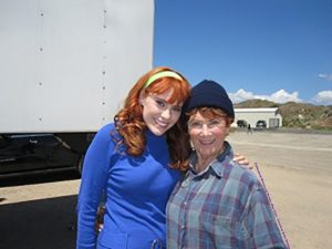Kate Melton with Marion Ross on the set of Scooby-Doo! Curse of the Lake Monster