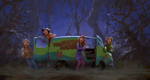 A Zac Retz painting for SCOOB!, pictures the Scooby gang in a dark forest with the Mystery Machine