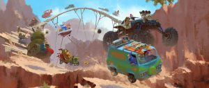 A Zac Retz painting for SCOOB!, pictures the Wacky Races style with the Mystery Machine out in front