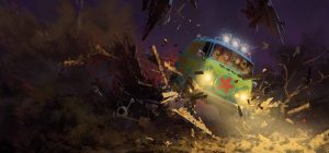 A Zac Retz painting for SCOOB!, pictures the Mystery Machine with the gang inside on a dark background