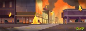 Background in Be Cool Scooby-Doo! Pictures a street with fire coming out of builldings with broken windows